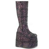 Schwarz Glitter 18 cm STACK-301G demonia stiefel - unisex cyberpunk stiefel