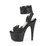 Schwarz Glitzern 18 cm ADORE-791LG pleaser high heels mit knöchelriemen