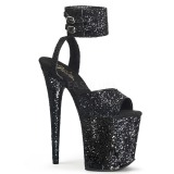 Schwarz Glitzern 20 cm Pleaser FLAMINGO-891LG Plateau High Heels