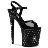 Schwarz Kristall Stein 20 cm STARDUST-809 Platform High Heel Schuhe