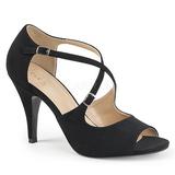 Schwarz Kunstleder 10 cm DREAM-412 grosse grössen sandaletten damen