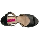Schwarz Kunstleder 12,5 cm EVE-02 grosse grössen sandaletten damen