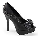 Schwarz Kunstleder 13,5 cm PIXIE-16 Gothic Pumps Schuhe
