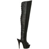 Schwarz Kunstleder 15 cm DELIGHT-3019 overknee stiefel mit plateausohle