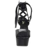 Schwarz Kunstleder 15 cm DELIGHT-600-14 pleaser sandaletten mit plateau