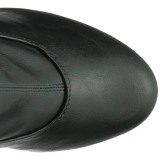 Schwarz Kunstleder 15 cm KISS-3000 Overknee stiefel mit plateau
