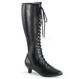 Schwarz Kunstleder 5 cm FAB-2023 grosse grössen stiefel damen