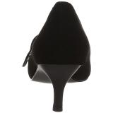 Schwarz Kunstleder 6,5 cm KITTEN-03 grosse grössen pumps schuhe