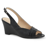 Schwarz Kunstleder 7,5 cm KIMBERLY-01SP grosse grössen sandaletten damen