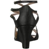 Schwarz Kunstleder 7,5 cm KIMBERLY-04 grosse grössen sandaletten damen