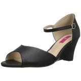 Schwarz Kunstleder 7,5 cm KIMBERLY-05 grosse grössen sandaletten damen