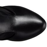Schwarz Kunstleder Breite Waden 12,5 cm EVE-312 Weitschaft Overknee Stiefel