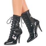 Schwarz Lack 10,5 cm VANITY-1020 Flache Damen Stiefeletten