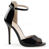 Schwarz Lack 13 cm AMUSE-14 Hohe Abend Sandaletten mit Absatz
