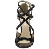 Schwarz Lack 13 cm AMUSE-15 Hohe Abend Sandaletten mit Absatz