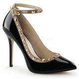 Schwarz Lack 13 cm AMUSE-28 Klassische Pumps Schuhe Damen