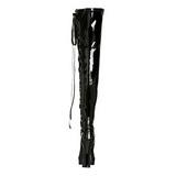 Schwarz Lack 13 cm ELECTRA-3050 Overknees Damenstiefel