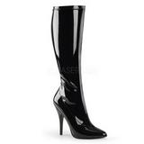 Schwarz Lack 13 cm SEDUCE-2000 High Heels Damenstiefel für Männer