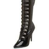 Schwarz Lack 13 cm SEDUCE-3024 Overknee Stiefel für Männer