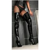 Schwarz Lack 13 cm SEDUCE-4010 Overknee Stiefel für Männer