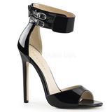 Schwarz Lack 13 cm SEXY-19 Hohe Abend Sandaletten mit Absatz