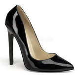 Schwarz Lack 13 cm SEXY-20 Damen Pumps Schuhe Flach