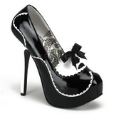 Schwarz Lack 14,5 cm Burlesque BORDELLO TEEZE-01 Plateau Pumps