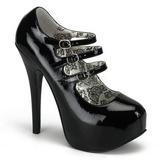 Schwarz Lack 14,5 cm Burlesque TEEZE-05 Damenschuhe mit hohem Absatz