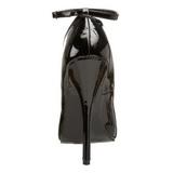 Schwarz Lack 15,5 cm DOMINA-431 Pumps Damen Schuhe Flach