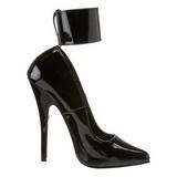 Schwarz Lack 15,5 cm DOMINA-434 Pumps Damen Schuhe Flach