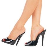 Schwarz Lack 15 cm DOMINA-101 Damen Mules Schuhe