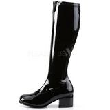 Schwarz Lack 5 cm RETRO-300 Hochhackige Damen Stiefel