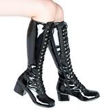 Schwarz Lack 5 cm RETRO-302 Damen Schnürstiefel High Heels