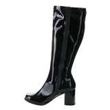 Schwarz Lack 8,5 cm GOGO-303 High Heels Damenstiefel für Männer