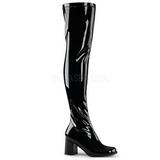 Schwarz Lack 8 cm GOGO-3000 Overknee Stiefel für Damen