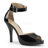 Schwarz Lackleder 12,5 cm EVE-02 grosse grössen sandaletten damen