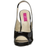 Schwarz Lackleder 12,5 cm EVE-04 grosse grössen sandaletten damen