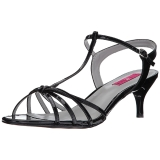Schwarz Lackleder 6 cm KITTEN-06 grosse grössen sandaletten damen