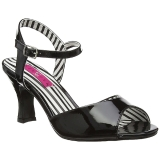 Schwarz Lackleder 7,5 cm JENNA-09 grosse grössen sandaletten damen