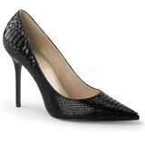 Schwarz Leder 10 cm CLASSIQUE-20SP Damen Pumps Stiletto Absatz