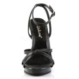 Schwarz Leder 12 cm FLAIR-436 High Heel Sandaletten Damen