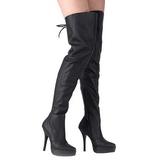 Schwarz Leder 13,5 cm INDULGE-3011 Overknee Stiefel für Männer