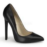Schwarz Leder 13 cm SEXY-20 Damen Pumps Schuhe Flach
