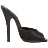 Schwarz Leder 15 cm DOMINA-101 Damen Mules Schuhe