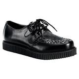 Schwarz Leder 2,5 cm CREEPER-602 Plateau Creepers Schuhe Herren