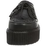 Schwarz Leder 5 cm CREEPER-402 Plateau Creepers Schuhe Herren