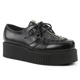 Schwarz Leder 5 cm CREEPER-440 Plateau Creepers Schuhe Herren