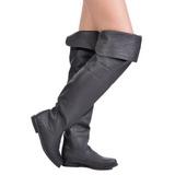 Schwarz Leder 8 cm RAVEN-8826 overknee high heels stiefel