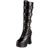 Schwarz Matt 12 cm SLUSH-225 Damen Schnürstiefel High Heels