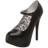 Schwarz Matt 14,5 cm Burlesque BORDELLO TEEZE-07 Plateau Pumps